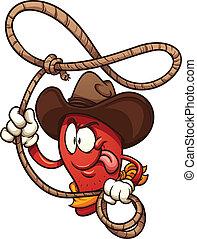 Cowboy chili pepper with lasso. Vector clip art illustration...