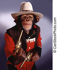 Chimpanzee dressed like cowboy
