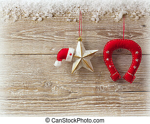 Cowboy christmas background with traditional decor toys