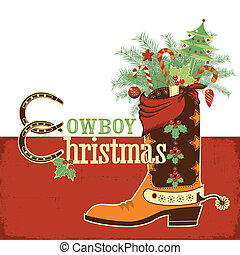 Christmas cowboy boot. Vector western illustration with text