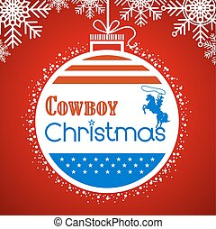 Cowboy christmas card background with American flag decoration