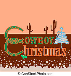 Cowboy Christmas card background with text