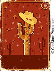 Cowboy christmas card for text.Vintage poster