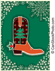 Cowboy christmas card with boot decoration.