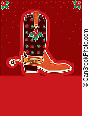 Cowboy christmas card with boots and holiday decoration