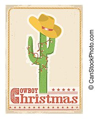Cowboy christmas  card with cactus and western hat on old card