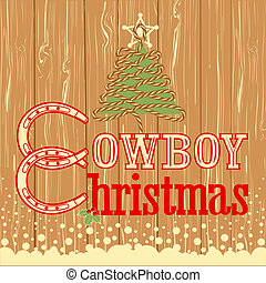 Cowboy Christmas card with decor rope tree