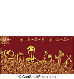 Cowboy christmas card with holiday elements and decoration for d