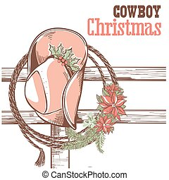 Cowboy christmas card with text.