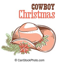 Cowboy christmas card with text isolated on white