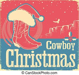 Cowboy Christmas card with western shoes and Santa hat