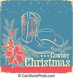 Cowboy Christmas retro card with american western shoes and cowboy hat on old paper texture