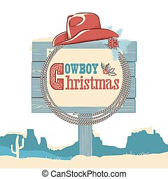 Cowboy christmas text on wood board.Vector isolated on white