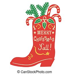 Cowboy Christmas. Vector vintage illustration with Cowboy Country boot and holiday decoration on white background for design