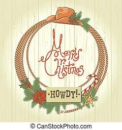 Cowboy christmas wreath with western cowboy decoration