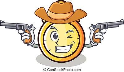 Cowboy chronometer character cartoon style