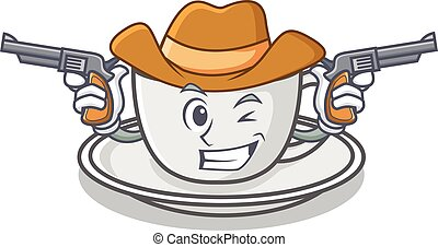 Cowboy coffee character cartoon style