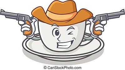 Cowboy coffee character cartoon style