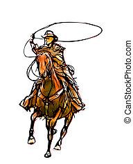 cowboy, colorare, illustrazione
