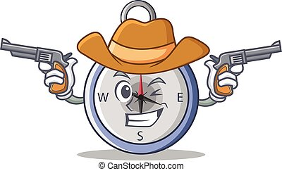 Cowboy compass character cartoon style