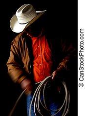 cowboy, con, laccio