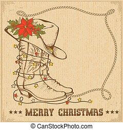cowboy, cornice, augurio, stivali, tradizionale, occidentale, scheda natale, laccio