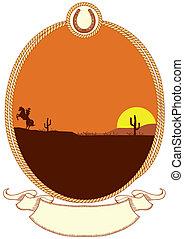 cowboy, cornice, corda, occidentale, fondo, design.