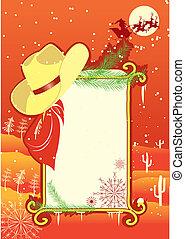 cowboy, cornice, hat.vector, tabellone, fondo, christmasn