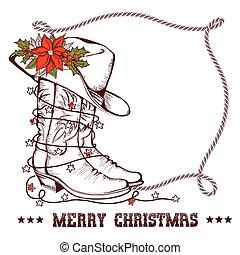 cowboy, cornice, isolato, stivali, augurio, tradizionale, occidentale, natale bianco, scheda, laccio