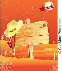 cowboy, cornice, tabellone, fondo, hat.vector, natale
