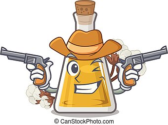 Cowboy cottonseed oil in a mascot bottle vector illustration