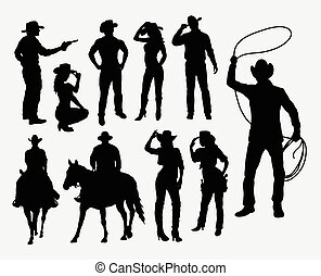 Cowboy and cowgirl silhouettes. Good use for symbol, web icons, logo, or any design you want. Easy to use.