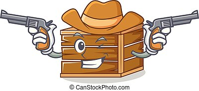 Cowboy crate character cartoon style