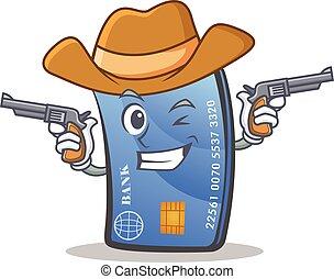 Cowboy credit card character cartoon