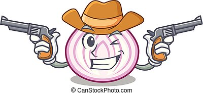 Cowboy cut in half slice onion cartoon