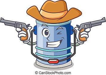 Cowboy cylinder bucket Cartoon of for liquid