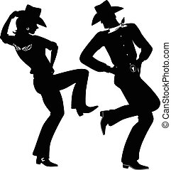Silhouette of a cowboy and cowgirl dancing country-western, no white, EPS 8