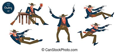 Cowboy design concept with flat human character of various ...