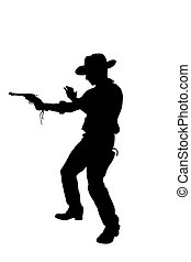 cowboy - The cowboy shoots from a revolver