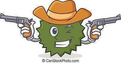 Cowboy Durian character cartoon style