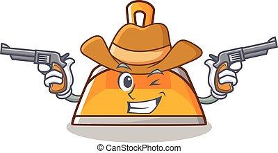 Cowboy dustpan character cartoon style