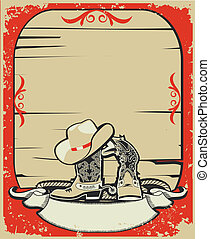 Cowboy elements. Red background with grunge elements decoration
