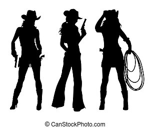 vector image of three cowgirls