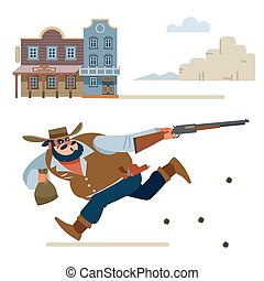 Cowboy escapes in a shootout from the Sheriff. Cartoon vector illustration. Flat style. Isolated on white background