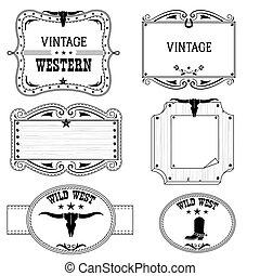 cowboy, etiketten, vrijstaand, ontwerp, westelijk, witte