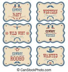 cowboy, etiketten, vrijstaand, symbolen, white., westelijk