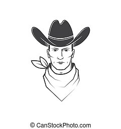 Cowboy face isolated on the white background. Element for ...