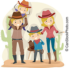 Cowboy Family - Illustration of a Family Dressed as Cowboys