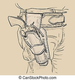 7497285b467 Cowboy fast draw holsters with Revolver Colt Model 1873 Single Action Army. Western  Gunfighters Rig