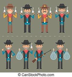 cowboy, fegyver, pénz, betű